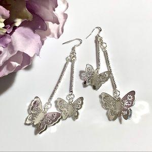 Jewelry - Sterling Silver Dangling Butterfly Earrings
